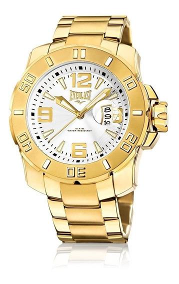 Relógio Everlast Cronógrafo Caixa Aço E Pulseira Aço Dourado