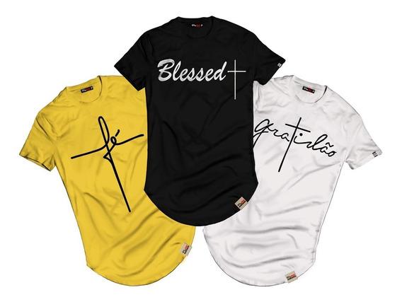 Kit 3 Camiseta Religiosa Blusa Longline Camisa Fé Gratidão 2