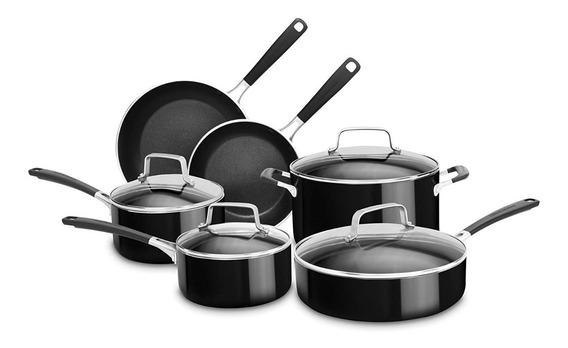 Bateria De Cocina 10 Piezas Aluminio Negro Antiadherente
