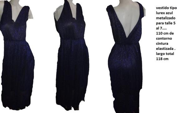 Vestido Largo De Fiesta Talle 7 Elastizado Dama . Azul !!