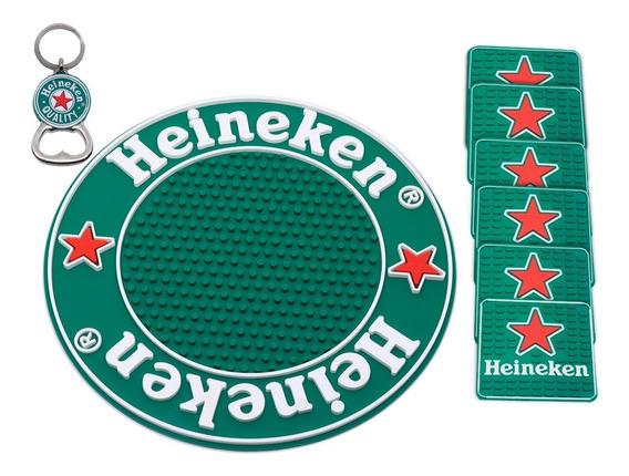 Bar Mat Heineken Tapete Redondo + 6 Descansos Copos + Brinde