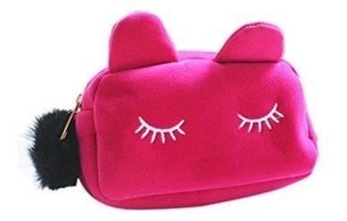 Portacosmeticos Neceser Gatito Con Pompom Makeup Bag