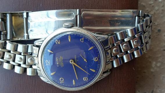 Relogio Cauny Prima 17 Rubis.40x39m.aco E Aluminio,mos.azul