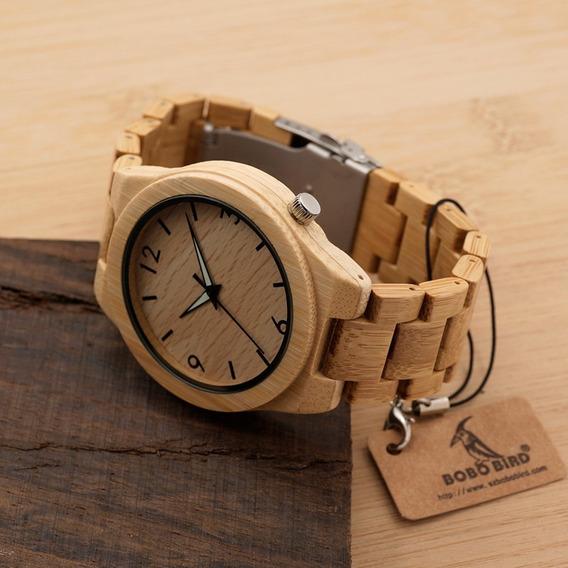 Relógio Unissex Bambu Madeira Anal. Bobo Bird D27 + Promoção