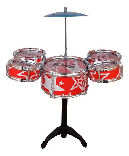 Mini Bateria Musical Infantil 5 Tambores Com Banco Jazz Drum