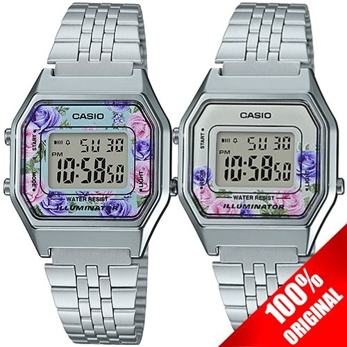 Reloj Casio Retro Dama La680 Plata Flores - 100% Original
