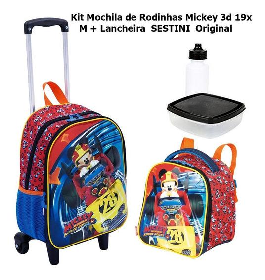 Mochila De Rodinhas M 3d Mickey 19x + Lancheira Sestini