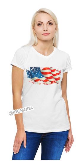 Camiseta Mujer Bandera Usa Moda Lifestyle Poliester Cpr18