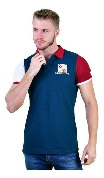 Camisa Polo Porto Blanco Algodon Hombre Azul Acero