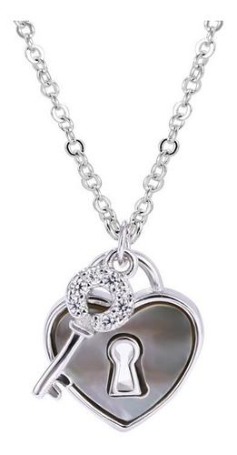 Imagen 1 de 4 de Collar Corazón Con Llave De Plata 0.925 Con Zirconias - 1126