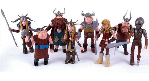 Como Treinar O Seu Dragão 8 Bonecos Vikings F. De Ação Novo