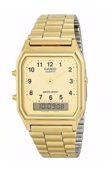 Relógio Casio Unissex Vintage Aq-230ga 9bmq Dourado Quadrado