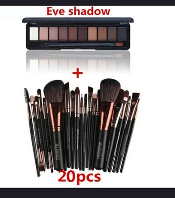 Kit Com 20 Pincéis E Mas Paleta De Maquiagem Com 10 Cores