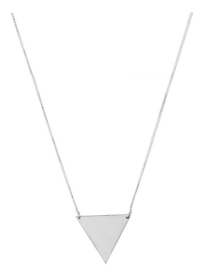 Colar De Prata Shine Triângulo Invertido Grande Geometrics