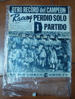 Antigua Revista Racing Club Campeon 7 De Diciembre De 1966