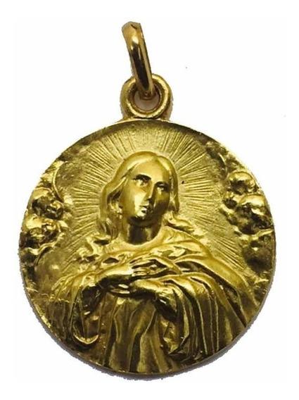 Medalla Oro 18k Purísima De Murillo #328 Bautizó Comunión