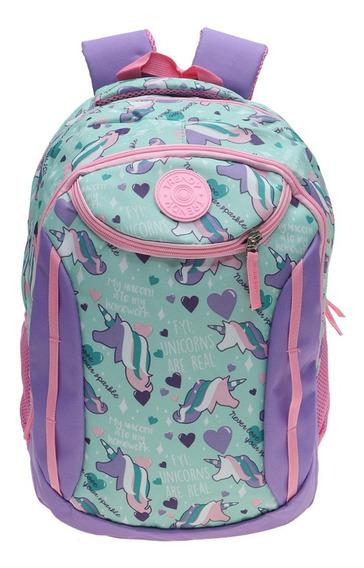 Mochila Nena Escolar Espalda Diseño Division Bolsillo Colores Acolchada By Happy Buy