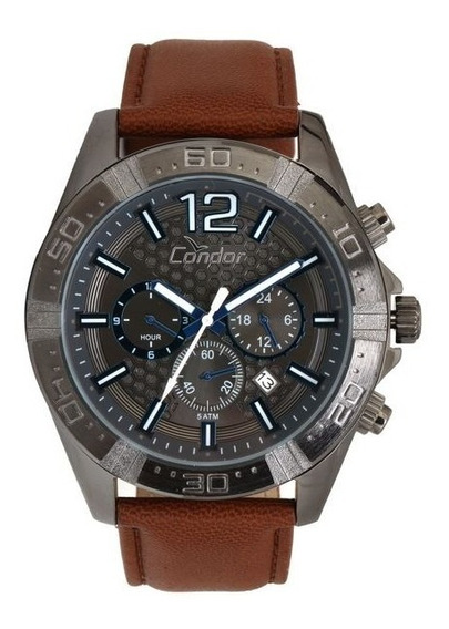 Relógio Condor Masculino Prata Velha, Marrom Covd33as/2p Top