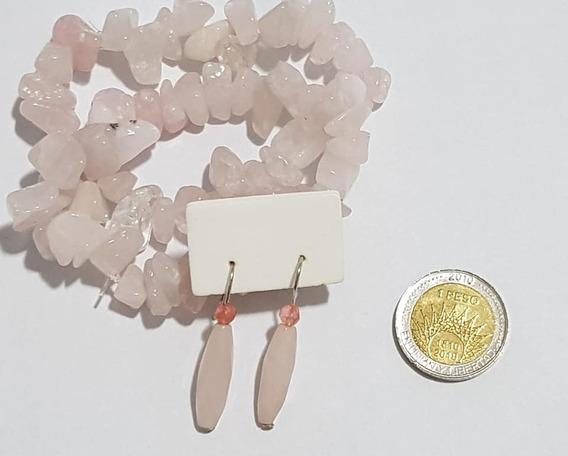 Aros Y Pulseras Escallas De Cuarzo Rosa Plata 925