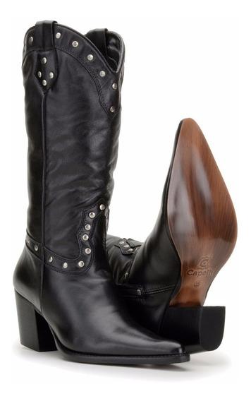 Bota Feminina Country Texana Couro Capelli Boots 3061-preta