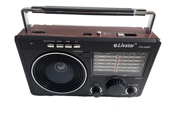Rádio Retro 686 Antigo Portátil Am/fm Recarregavel Pen Drive