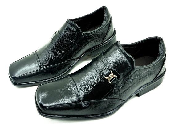Sapato Social Em Couro Croco. Sola Borracha Confort