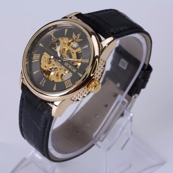 Relógio Original Sewor Automático Preto Luxo
