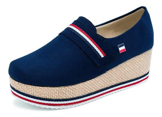 Zapato Plataforma, Detalle Al Frente, Color Marino Mod.6010