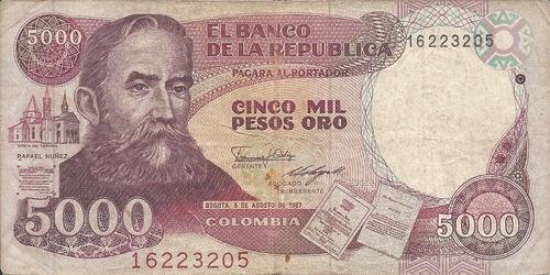 Colombia  5000 Pesos Oro 5 Agosto 1987, Hecho En Italia