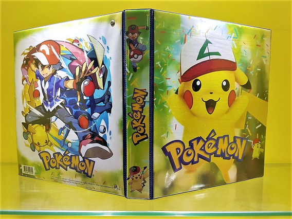 Fichário Álbum Pasta Pokemon Pikachu + 20 Folhas + 06 Cartas