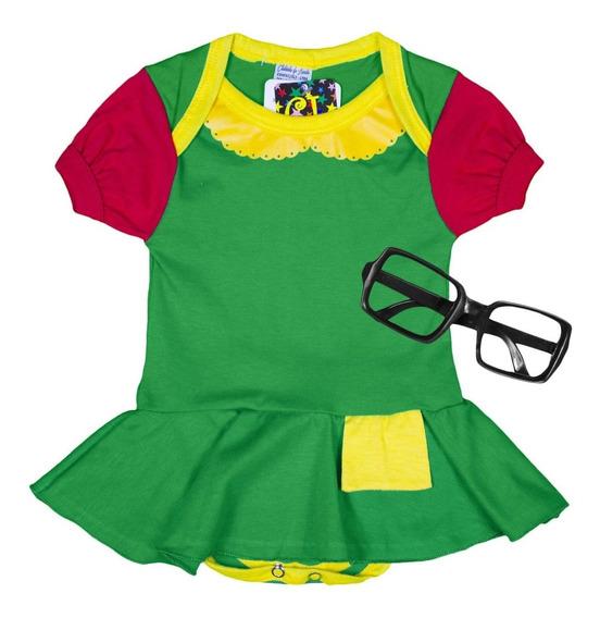 Body Baby Festa Fantasia Infantil Chiquinha + Óculos