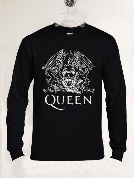 Polera Ml Queen Logo Aguila Rock Clásico Progre Abominatron