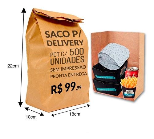 Imagem 1 de 3 de Saco Kraft Delivery 18x10x22 ( 500unid ) Melhor Preço!