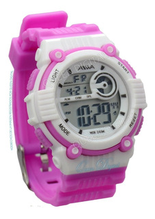 Reloj Sumergible 50mt Dama Niños Alarma Crono Luz Aiwa Mujer