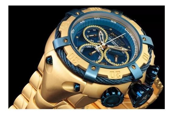 Relógio Masculino Dourado Luxo Bolt Zeus Grande Pesado !!!