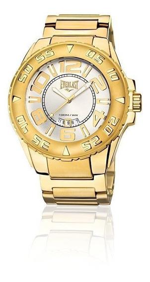 Relógio Pulso Everlast Masculino Calendário Aço Dourado E628