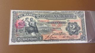 Billete 2 Pesos Londres Y Mexico 1914