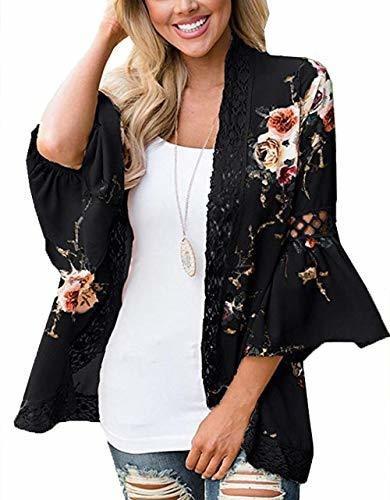 Casuress Mujer Cardigan-sheer Kimono Loose Summer Floral Pri