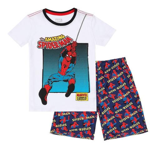 Pijama 2 Piezas Camiseta Y Pantaloneta Niño Blanco Marvel