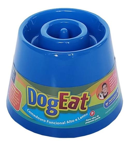 Comedouro Lento Alto Caes Pequeno Dog Eat Pet Games Azul