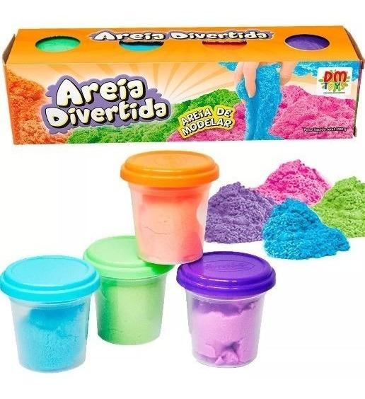 Kit 4 Massinha Modelar Pote Massa Areia Divertida Colorida