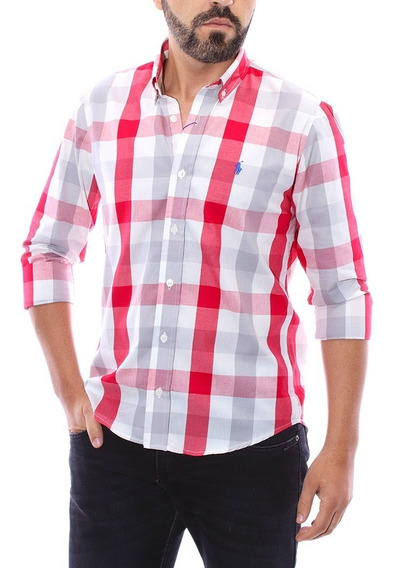Camisa Social Ralph Lauren Custom Fit Xadrez Creme Vermelho