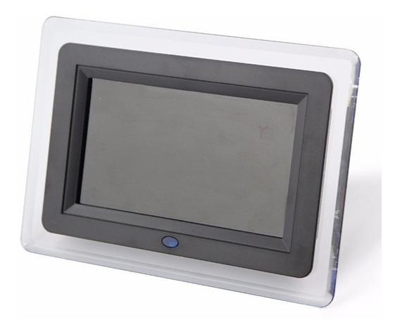 Porta Retrato Digital Tela 7 Lcd Usb C/ Relógio E Calendário