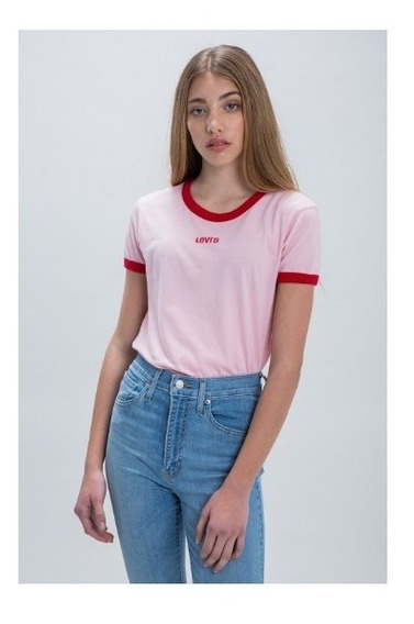 Remera Mujer Levis Perfect Ringer Tee Rosa Algodón