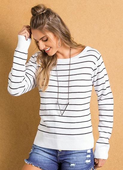 Suéter Tricô Feminino Listrado Preto E Branco Psd 2200146