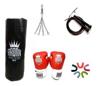 Combo Boxeo Bronx Bolsa 90cm Cadena Guantes Bucal Soga