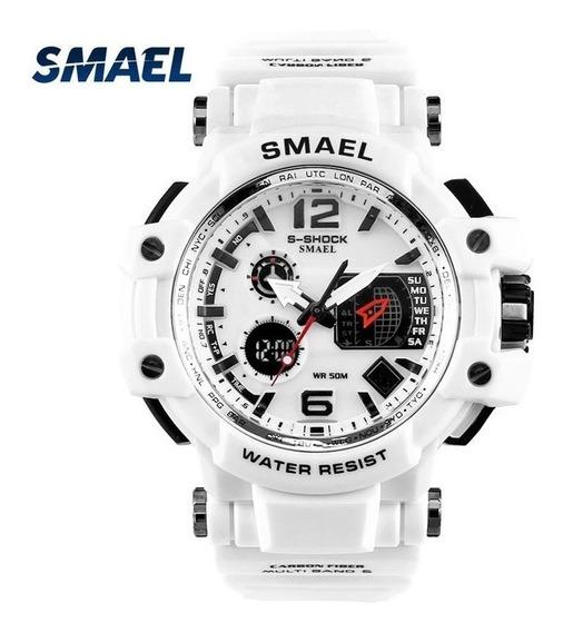 Relógio Esportivo Militar S-shock Smael Original Cor Branco