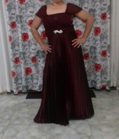 Vestido Marsala De Festa Longo Xg