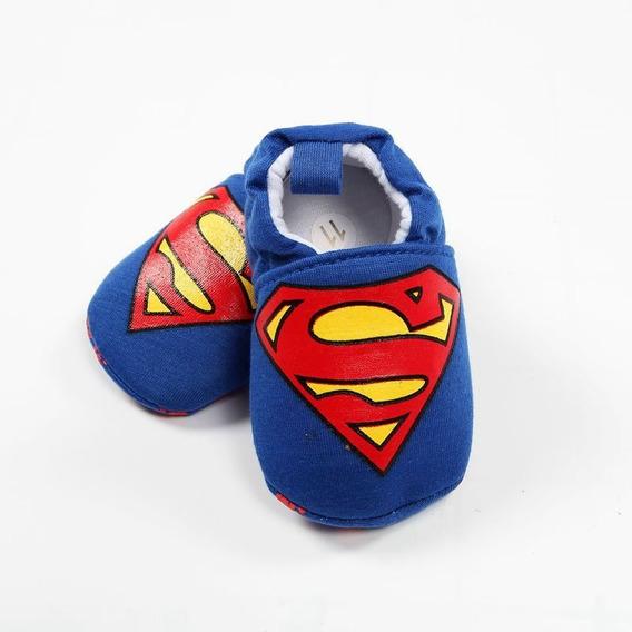 Pantufa Infantil Bebê Primeiros Passos Meninos - Personagem Super Homem