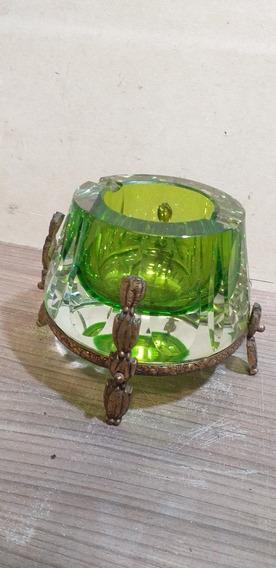 Cenicero Antiguo Vidrio Verde Y Pie De Bronce De Categoría